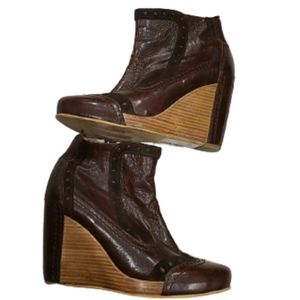 Fly London brown leather/wood wedge heels